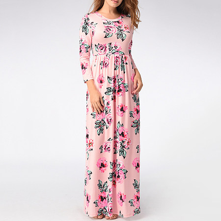 Absorbing Round Neck Floral Printed Maxi Dress
