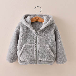 Lovely Winter Floss Plain Zipper Coat