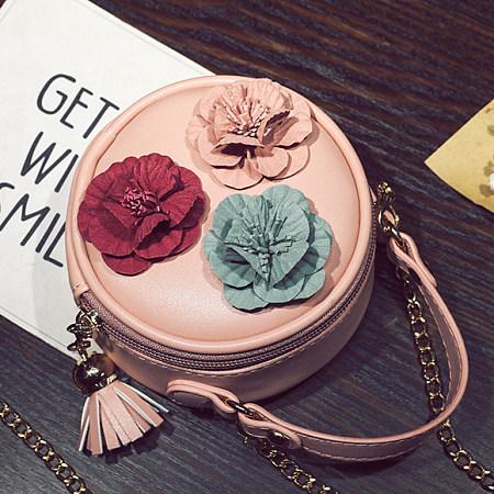 Flower Decorated Crossbody Bag, pink, AG17070706