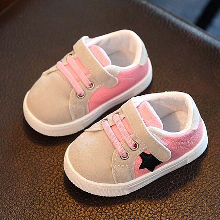 Star Pattern Low Top Velcro Shoes, pink, AG17080411