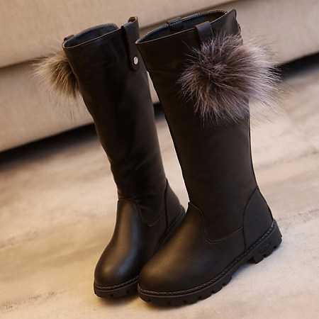POPREAL / Back Zipper Pompon Decorated Boots