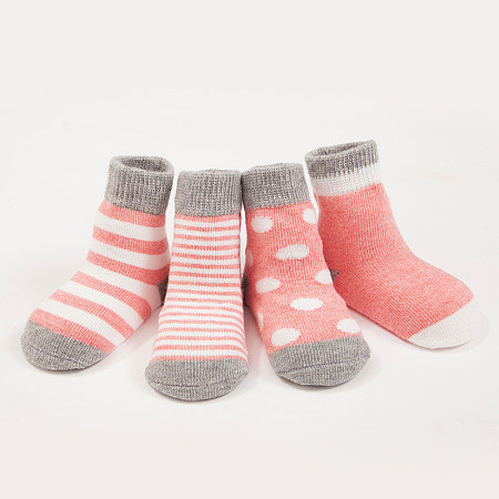 Stripe Color Block Cotton Socks By Four Pairs