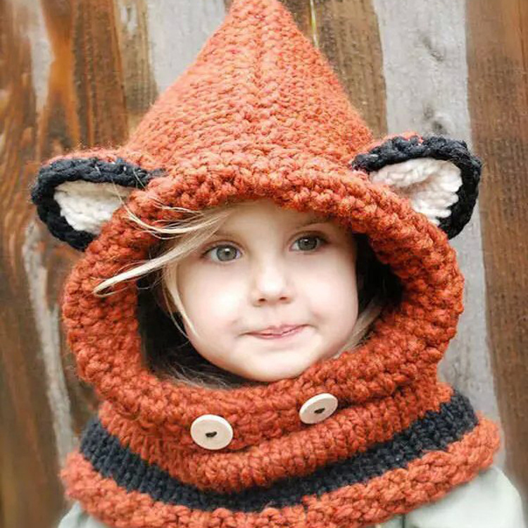 Thickened Knitted Little Ear Neck Gaiter Cap Two-In-One