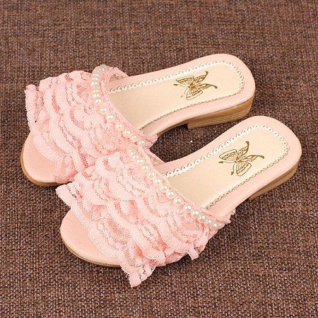 Beads Decortaed Lace Layered Slippers