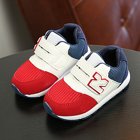 Velcro Letters Pattern Color Block Sports Shoes