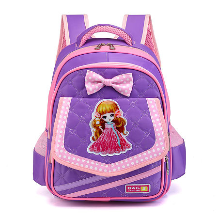Bowknot Decorated Cartoon Character Pattern Backpack