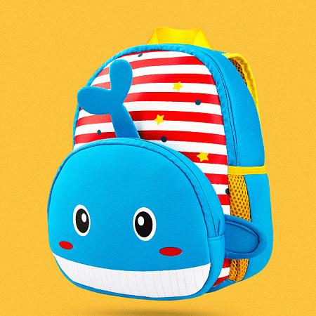 Stripes Cartoon Whale Pattern Backpack