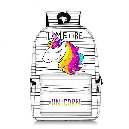 Buy Stripes Unicorn Pattern Backpack, white, AL18071019 for $22.36 in Popreal store