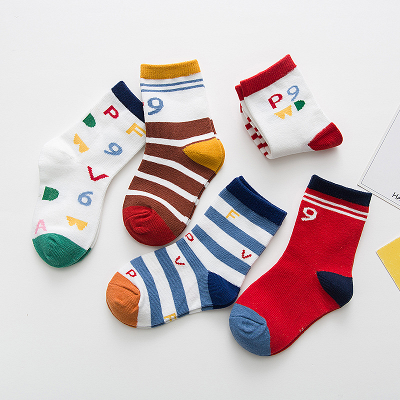 Numbers Pattern Color Block Socks By Five Pairs