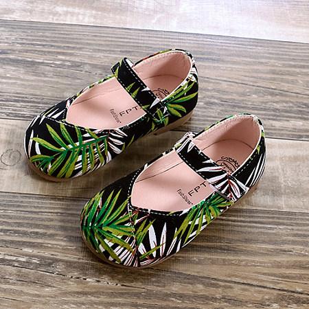 Velcro Tropical Palms Prints Princess Shoes