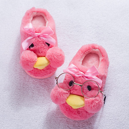 Plush Bownot Decorated Cartoon Duck Shoes