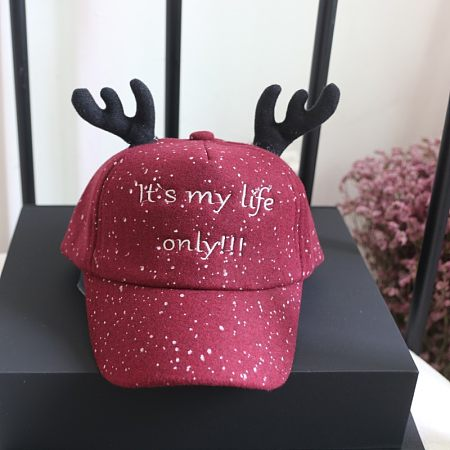 Letters Pattern Antlers Decorated Hat