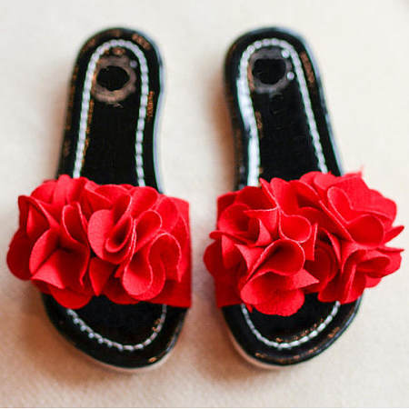 Girls Flower Decorated Summer Slippers