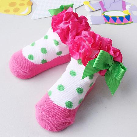 Polka Dots Flower Bowknot Decorated Socks