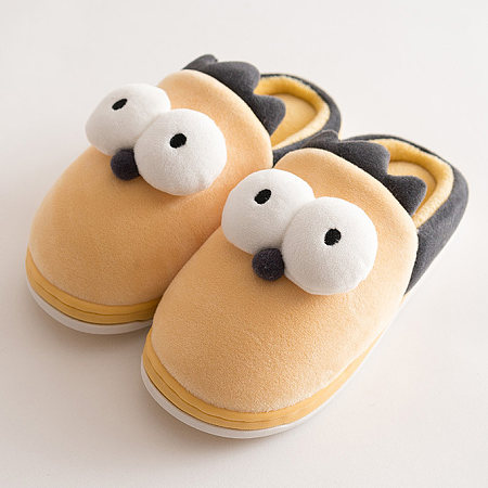 Big Eyes Decorated Cotton Slippers