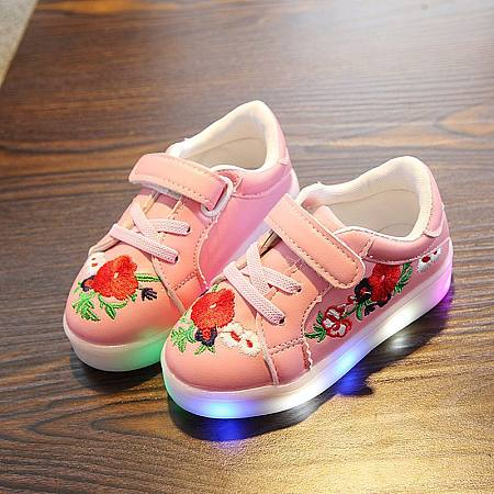 Flower  Embroidered Velcro LED Shoes