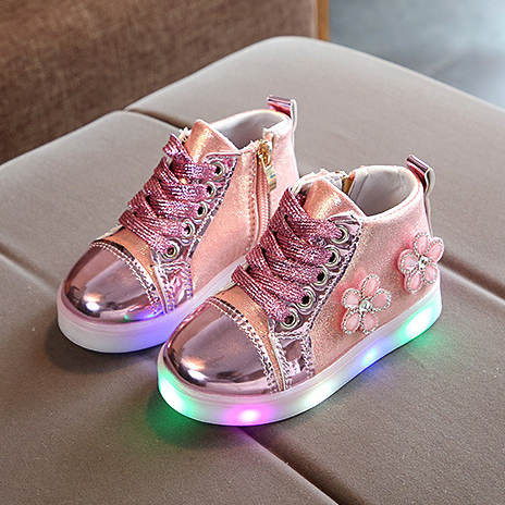 LED Lace Up Flower Decorated Shoes