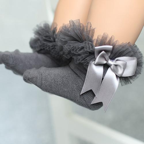 Tulle Bowknot Embellished Solid Color Socks