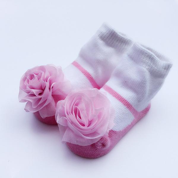 Contrast Rose Embellished Socks