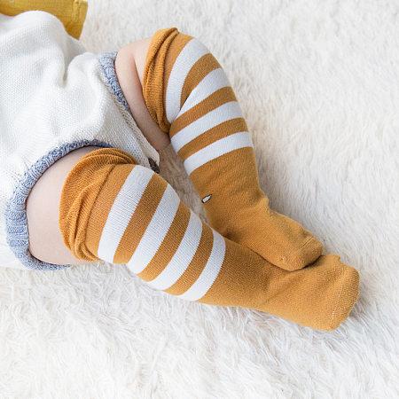 Stripes Cartoon Face Pattern Back Thigh High Socks