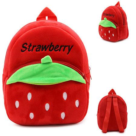 Plush Strawberry Shaped Backpack
