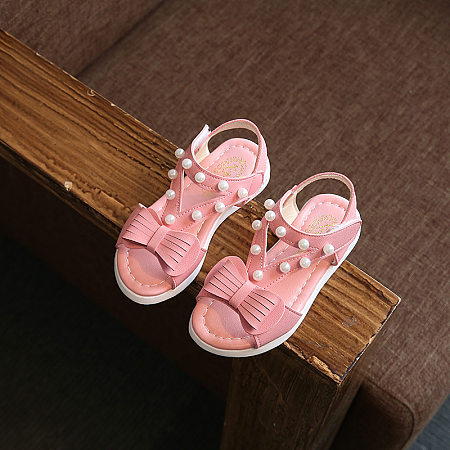 Faux Pearls Bowknot Girls Sandals