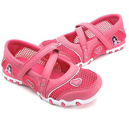 Net Surface Heart Applique Velcro Shoes