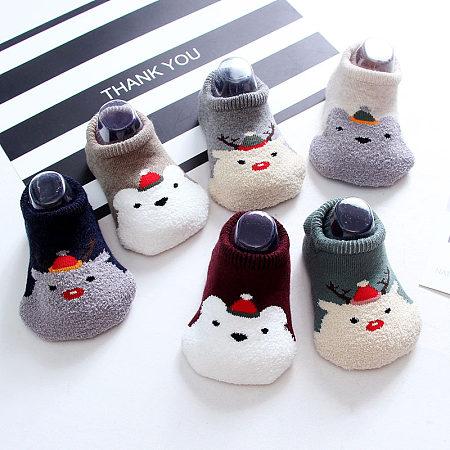 Cute Cartoon Animal Pattern Baby Floor Thicken Anti-Slippery Socks By Two Pairs