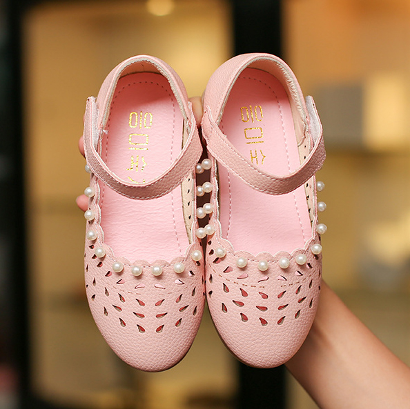 Girls Beads Decorated Hollow Out Shoes