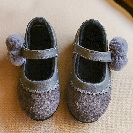 Pompons Embellished Velcro Shoes