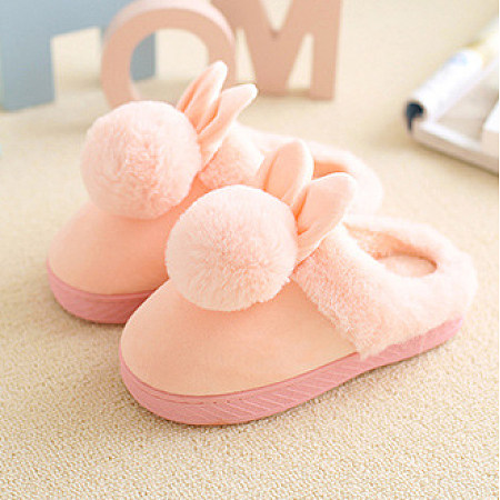 Pompons Embellished Plush Slippers