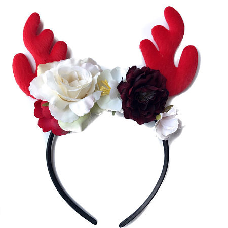 Christmas Flowers Embellished Antlers Hairband