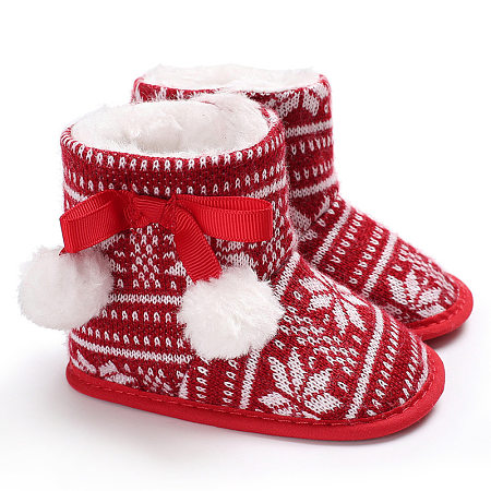 Pompons Embellished Christmas Velcro Shoes