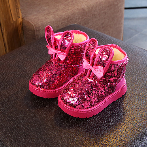 Sequin Bowknot Decorate Thick Boots