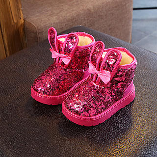Sequin & Bowknot Decorated Thick Boots