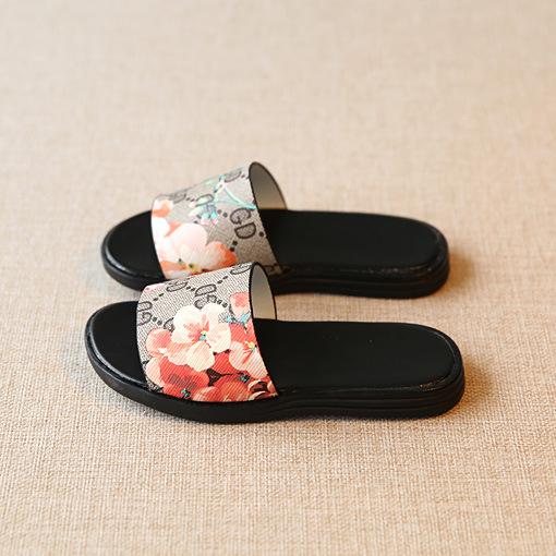 Flower Print Girls Slippers