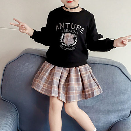 Sweet Pure Color Long Sleeve Round Neck Plaid Skirt Suit, 8422140