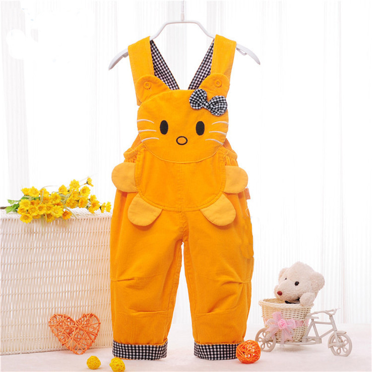 Cartoon Kitty Face Button Suspender Pants