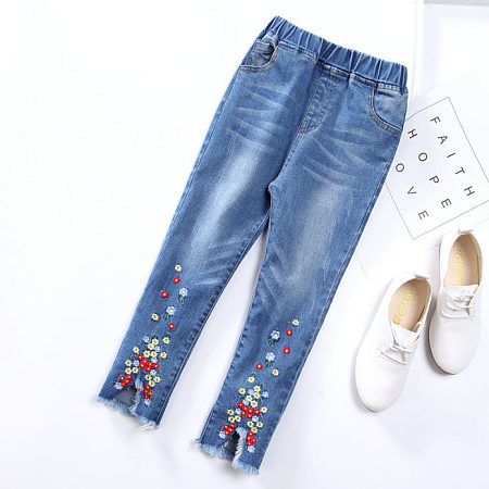 Raw Hem Embroidered Flowers Denim Pants