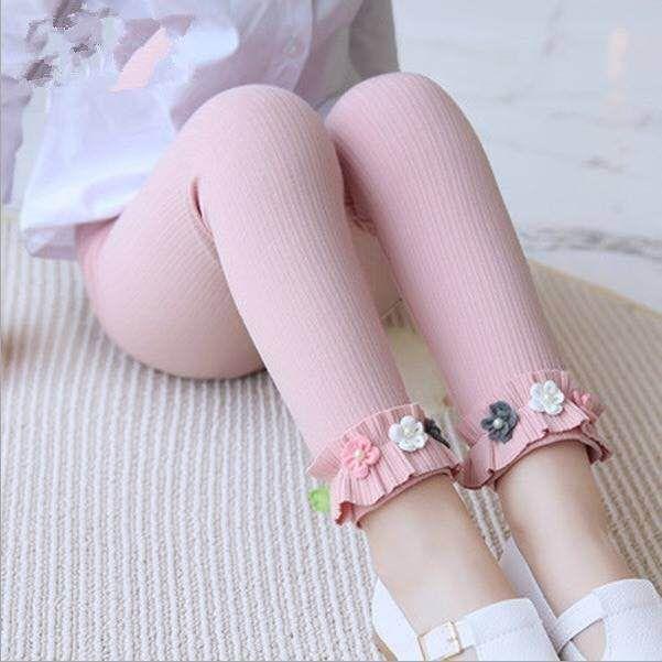 Flower Ruffle Trim Cotton Leggings