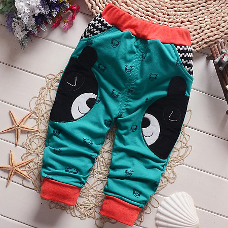 Buy Cartoon Bear Pattern Elastic Waist Pants, green, BL17102018 for $9.90 in Popreal store
