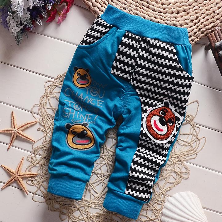 Cartoon Bear Letters Pattern Color Block Pants