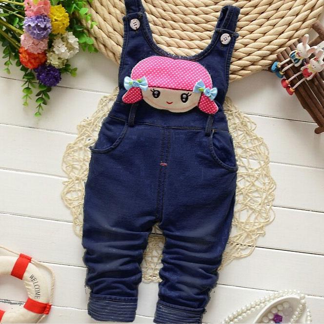 Cartoon Character Decorated Polka Dots Suspender Pants