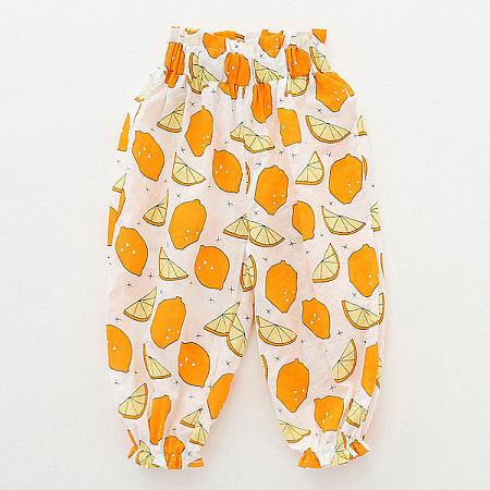 Cartoon Lemon Prints Elastic Waist Pants