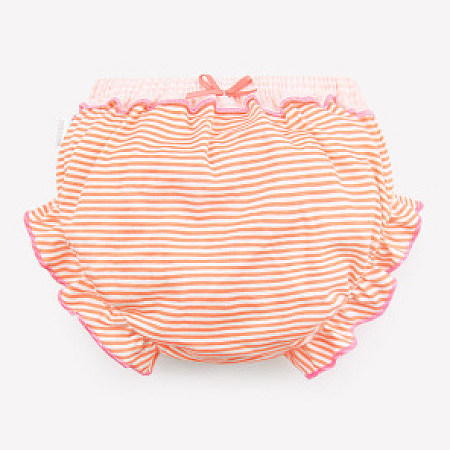 Stripes Bowknot Decorated Ruffle Trim Bottom