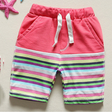Stripes Drawstring Elastic Waist Shorts