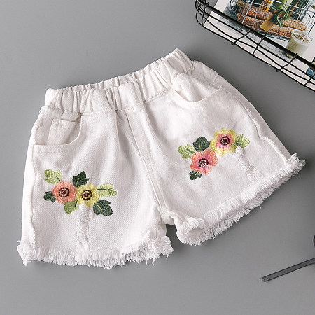 Botanical Embroidered Elastic Waist Shorts