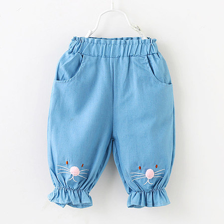 Buy Pompon Decorated Elastic Waist Pants, light_blue, BL18072319 for $10.32 in Popreal store