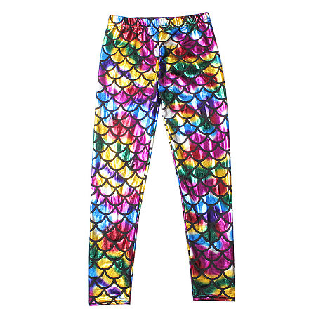 Colorful  Fish Scale Elastic Waist Trousers