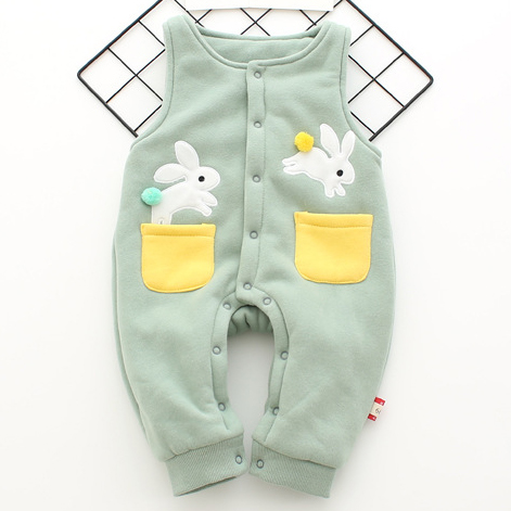 Cute Bunny Pattern Thickened Suspender Trousers